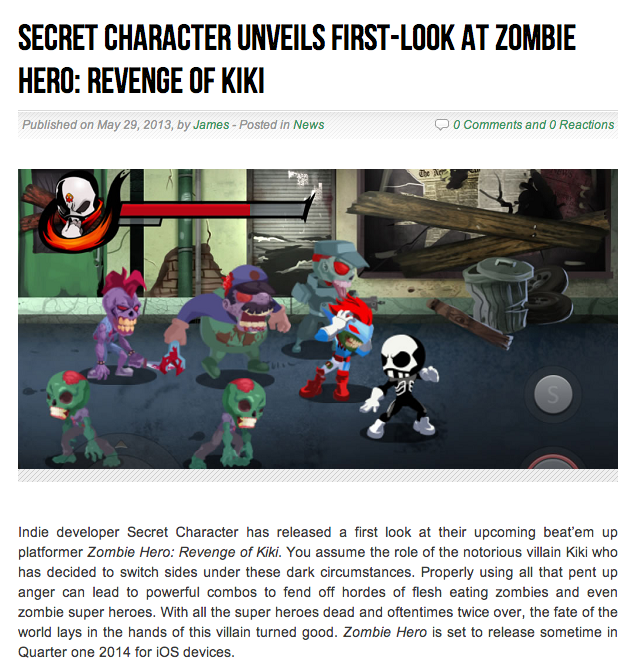 Featured in IndieGameHQ.com
